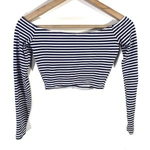 Stretchy Off the Shoulder Crop Top in Navy Stripe